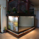 custom framed indoor waterfall fountain led light