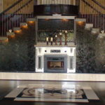 entryway water feature marble slab stairway fountain
