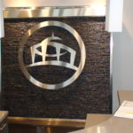stainless trim floor waterfall stainless logo fountain