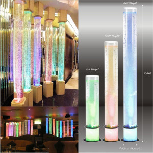 Acrylic Tube Bubble Column Water Feature White Rock
