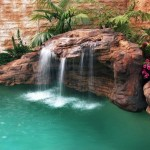 rock cascading water feature