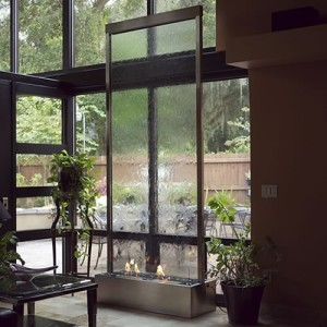 stainless steel glass waterfall biofuel fire