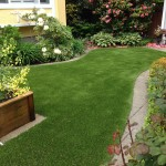 small garden landscape with artificial turf