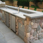 stone bbq pit wall design