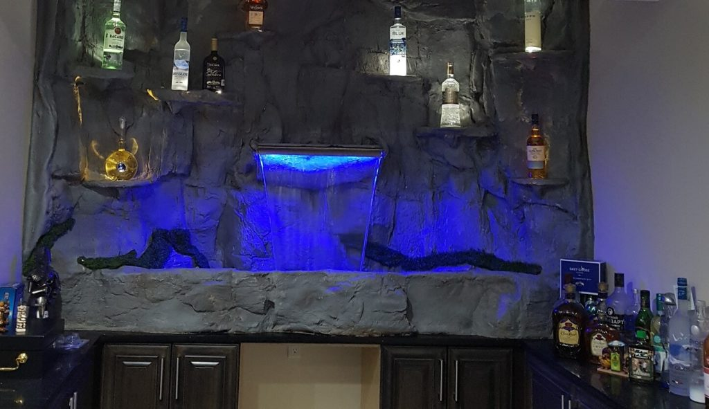 bar drink display waterfall