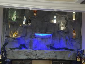drink bar rock waterfall fountain