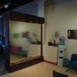 indoor mirror double sided glass floor standing waterfall custom built
