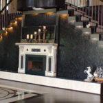 indoor waterfall marble stairwell