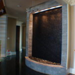 slate stone marble indoor waterfall wall fountain custom built