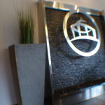 stainless steel angled floor standing waterfall fountain stone feature
