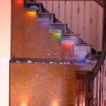 stairway custom waterfall rgb lighting