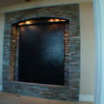 wall mounted brick slate stone slab waterfall fountain indoor
