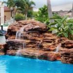 resort style rock waterfall