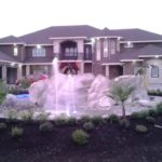 artificial-rock-waterfall-front-yard