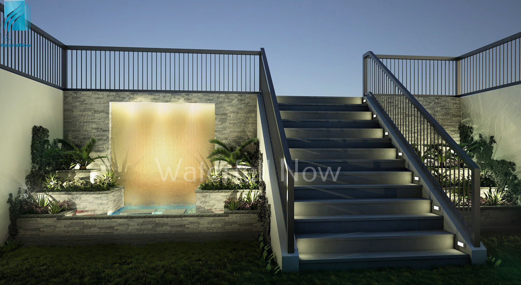brass water wall feature